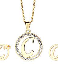 kalen®2016 atacado 18k de aço inoxidável banhado a ouro de capital letra c pingente de colar e brincos conjunto de jóias para as mulheres