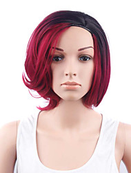 Short Wavy Hair Black and Red Two Tone Color Synthetic Wigs for Women