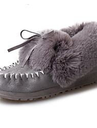 Women's Boots Fall Winter Comfort Fur Outdoor Casual Flat Heel Black Pink Gray Walking