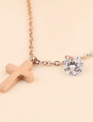 Woman Silver Alloy Cross Lobster Clasp Anklet