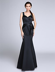 Mermaid / Trumpet Straps Floor Length Satin Formal Evening Dress with Side Draping by TS Couture®