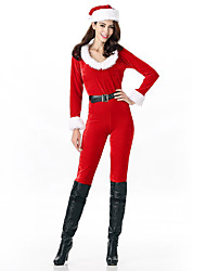 Cosplay Costumes Santa Suits Movie Cosplay Red Solid Leotard/Onesie / Belt / Hats Christmas Female Polyester