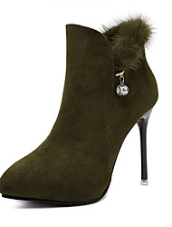 Women's Boots Winter Fleece Fur Dress Stiletto Heel Black Army Green