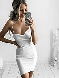 Women's Casual/Daily Simple Loose Dress,Solid Round Neck Midi Sleeveless White / Gray Cotton Spring Low Rise Micro-elastic Medium