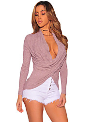 Women's Rib Crossover Arched Hem Long Sleeve Top