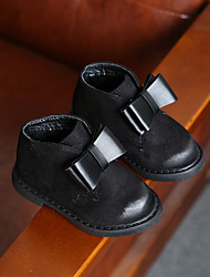 Girls' Boots Comfort Snow Boots Fleece Winter Casual Comfort Snow Boots Bowknot Flat Heel Black Gray Ruby Blushing Pink Flat