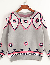 Women's Going out Cute Regular Pullover,Jacquard Blue Pink Gray Round Neck Long Sleeve Acrylic Spring Fall Medium Micro-elastic