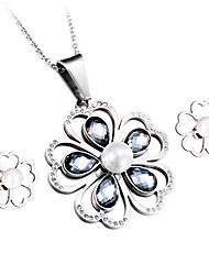 Kalen® New Women Silver Color Stainless Steel&Pearl Jewelry Sets Colorful Crystal Flower Pendant Gifts