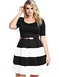 Women's Stripes Detail Belted Plus Size Skater Dress