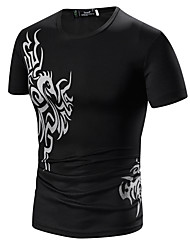 Tee-shirt Hommes,Fleur Sortie / Décontracté / Quotidien / Soirée Bohème / Punk & Gothique Toutes les Saisons Manches Courtes Col Arrondi