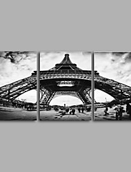 Stretched Canvas Print / Unframed Canvas Print Eiffel Tower Landscape RealismThree Panels Canvas Vertical Print Wall Art Huge Size For Home Decoration