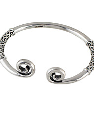 Vintage Silver Color Flower Printed Open Cuff Bangles