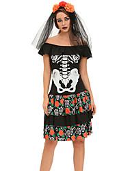 Costumes de Cosplay Squelette/Crâne Fête / Célébration Déguisement Halloween Noir Imprimé Robe / Coiffure Halloween / Carnaval Féminin