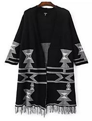 Women's Going out Sexy Long Cardigan,Jacquard Red / Black V Neck Long Sleeve Cotton Fall Medium Micro-elastic