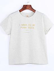 Tee-shirt Aux femmes,Lettre Décontracté / Quotidien simple Eté Manches Courtes Col Arrondi Rose / Blanc / Noir / Gris Coton / Lin Fin