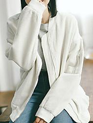 Feminino Casaco Casual Simples Outono / Inverno,Sólido Branco / Verde Algodão Colarinho Chinês-Manga Longa Média
