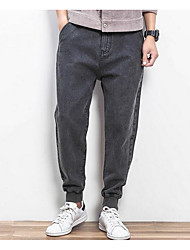 Men's Loose / Harem Jeans Pants,Casual/Daily Simple Solid Mid Rise Zipper Cotton Inelastic Spring / Fall