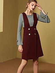 Damen Röcke,Bodycon einfarbigLässig/Alltäglich Einfach Mittlere Hüfthöhe Über dem Knie Knopf Polyester Micro-elastisch Riemengurte