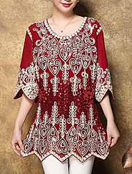 Damen Jacquard Street Schick Ausgehen T-shirt,Rundhalsausschnitt Herbst ½ Länge Ärmel Rot / Schwarz / Grün Polyester Mittel