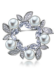 Elegant Wedding party Buttery Brooches for women White pearl Platinum plated Clear White AAA Cubic zirconia