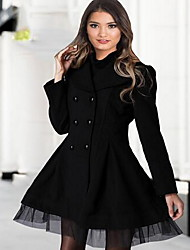 Women's Casual/Daily Simple Trench Coat,Solid Shirt Collar Long Sleeve Spring / Fall Multi-color Wool
