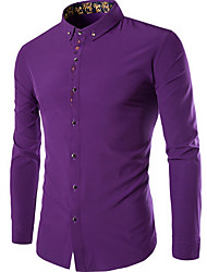 Men's Formal Simple Fall Shirt,Solid Shirt Collar Long Sleeve Cotton Medium
