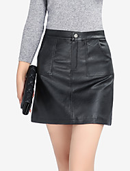 Women's  Casual Daily Work Club Sexy A Line Solid Black Split Zipper PU Skirts