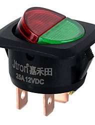 Jtron DC 12V 25A Red  Green LED Light On-OFF Button Car Switch -Black