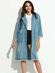 Women's Going out / Casual/Daily Simple Fall Denim Jackets,Solid Peaked Lapel Long Sleeve Blue Cotton Thin