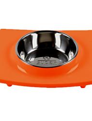 Gato / Cachorro Comedouro Animais de Estimação Tigelas e alimentação de animais Prova-de-Água / Casual Laranja Silicone / Aço Inoxidável