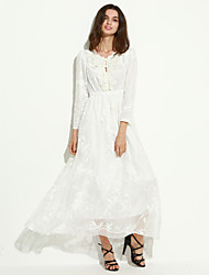 Women's Lace Party Swing Dress,Solid Round Neck Maxi Long Sleeve White Silk/Polyester Spring/Fall/Winter