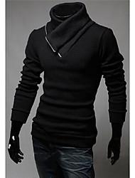 Masculino Longo Pulôver,Casual / Esportivo estilo antigo / Simples / Temática Asiática Sólido Preto / Cinza Colarinho Chinês Manga Longa