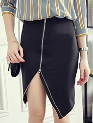 Feminino Tamanhos Grandes Saias-Bodycon Cor Única Com Fenda-Simples Cintura Alta Casual Acima do Joelho Zíper Algodão Stretchy Verão