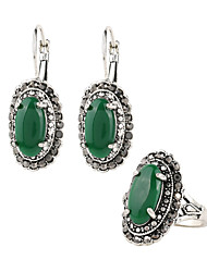Hot Vintage Green Earrings And Rings Jewelry Sets 2Pcs/Set Plating Silver Oval Resin Retro Accessories Bridal Jewelry Sets