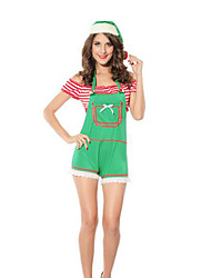 Festival/Holiday Halloween Costumes Green Solid Top / Pants / Hats Christmas Female