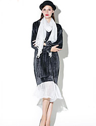Women's Casual/Daily Vintage Loose Dress,Solid / Patchwork Round Neck Midi / Knee-length Long Sleeve Black / Gray / GreenCotton /