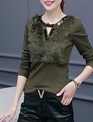 Damen Solide Einfach Ausgehen T-shirt,Rundhalsausschnitt Herbst Langarm Rot / Schwarz / Braun / Grün Baumwolle Mittel