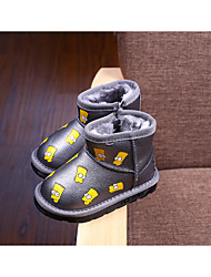 Boy's Boots Winter Other Leather Outdoor Casual Flat Heel Animal Print Black Gray Other