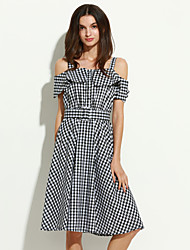 Women's Vintage Check A Line Dress,Boat Neck Knee-length Cotton