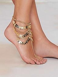Mulher liga de ouro tornozeleira fecho da lagosta