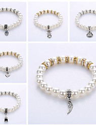 Mitation Pearl Spacers Pendant Bracelet European And American Fashion For Men And Women Lovers Bracelet The Original Manual SystemOf A Single String