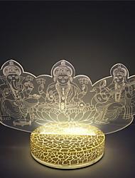 CE ROHS certificado 3d illsuion 2W quente lamparina mesa cor branca