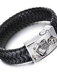 Kalen Men's Woven Leather Bracelet Punk 316 Stainless Steel Skull Charm Bracelet Bangle Rock Jewelry Male Accessory