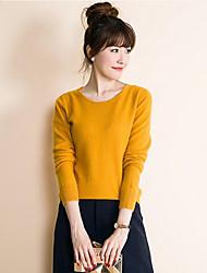 Damen Kurz Pullover-Lässig/Alltäglich Einfach Solide Blau Rot Gelb Rundhalsausschnitt Langarm Kaschmir Polyester Herbst Mittel