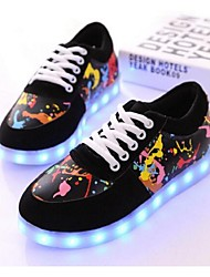 LED Light Up Shoes, Unisex Sneakers Comfort PU Casual Black