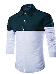 Men's Work Simple Fall / Winter Shirt,Solid Shirt Collar Long Sleeve Red / White / Green Cotton Medium