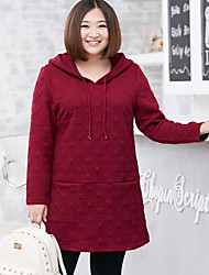 Women's Plus Size Casual/Daily Simple Hoodie Solid Micro-elastic Cotton Polyester Long Sleeve Winter
