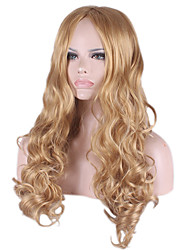 Capless Long Body Wave Medium Side Bang Synthetic Wigs for Women Blonde Heat Resistant with Free Hair Net
