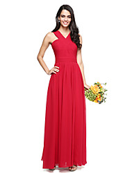 A-Line V-neck Floor Length Chiffon Bridesmaid Dress with Criss Cross Ruching by LAN TING BRIDE®