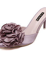 Women's Clogs & Mules Summer Slingback Silk Casual Stiletto Heel Satin Flower Pink Gray Others
